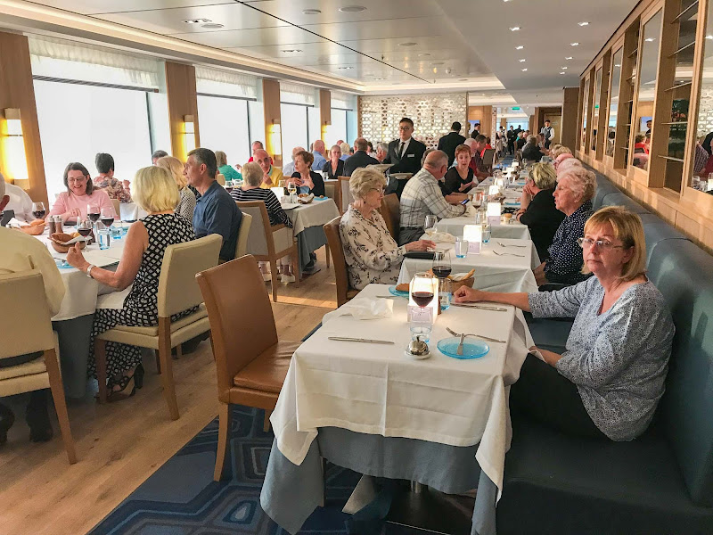 The Restaurant, the main dining room on Viking Sun, begins to get busy.