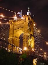 Photo: Suspension Bridge over the Ohio.  Prototype for Brooklyn Bridge