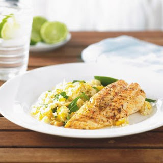 Chargrilled Moroccan fish fillets with couscous salad