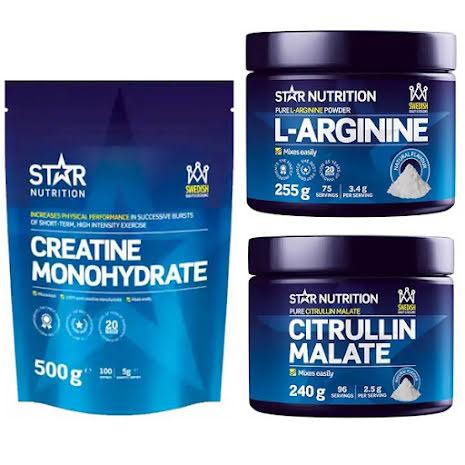 Star Nutrition Pump-Paketet - Creatin 500g + Citruline Malate 240g + L-Arginin 255g
