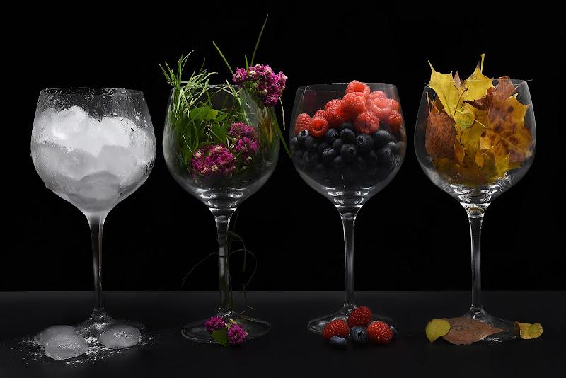 Le stagioni in 4 bicchieri: inverno - primavera - estate - autunno di BASTET-Clara