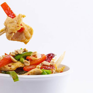 Jet Tila's Spicy Stir-Fried Chicken, Peanuts, Dried Chilies and Peppers.