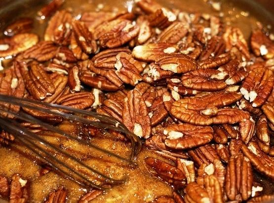 Keep stirring over med heat until the pecans are coated in the sugar mixture.