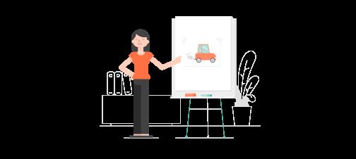 Anny, à côté d'un tableau blanc sur lequel figure une voiture