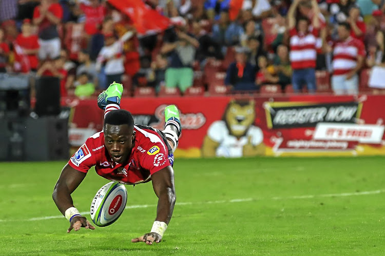 Madosh Tambwe of the Lions scores his fourth try during the Super Rugby match against the Stormers at Emirates Airline Park in Johannesburg.