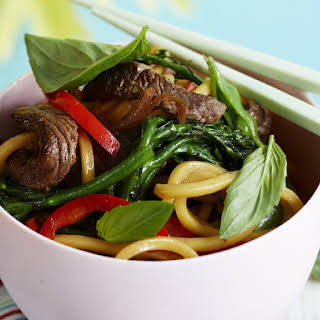 Asian Noodles with Beef and Snap Peas.