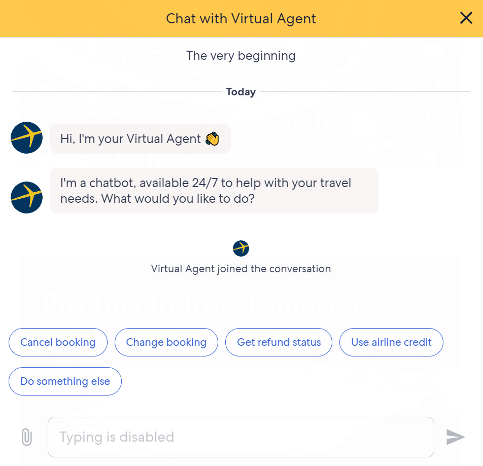 A chatbot for Expedia, introducing itself as such and offering to help with bookings.