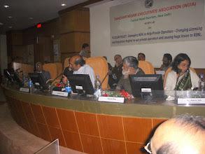 Photo: from L to R: Shri A.N.Rai, Dir(HR), BSNL, Paranjoy Guha Sr. Journalist, Ashok Rao, NCOA and Prof. Rekha Jain ,IIM Ahmedbad