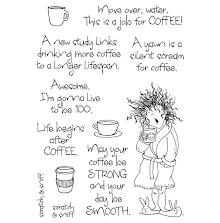 Inky Antics Clear Stamp Set - Yawning Coffee Lady  UTGÅENDE