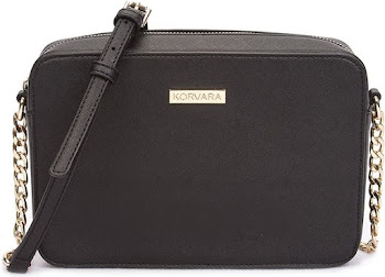 Korvara Saffiano Crossbody Bag - Black