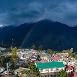 Rainbow in Munsiyari by Arindam Patra - City,  Street & Park  Vistas ( sky, rainbow, mountains, hills, clouds )