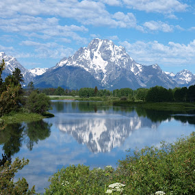 Life is Grand by Vanessa Latrimurti - Landscapes Mountains & Hills ( reflection, blue sky, mountain, snow cap, wyoming, lake )