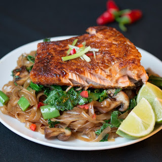 Sticky Salmon with Chilli Lime Noodles.