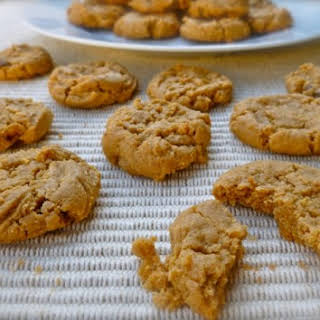 Easy 4 Ingredient Peanut Butter Button Cookies.