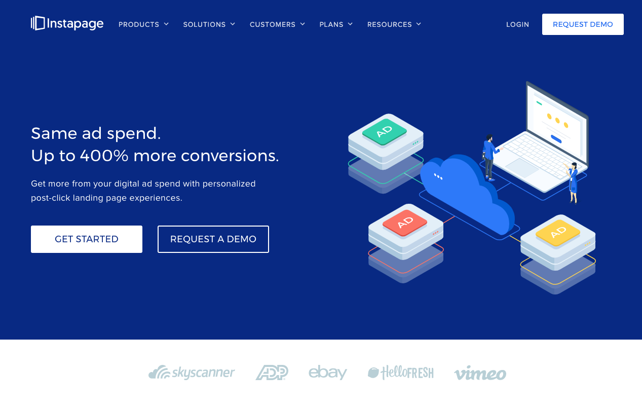 Instapage's homepage