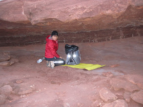 Photo: Second night camp under an overhang in upper parts of Horsethief Canyon