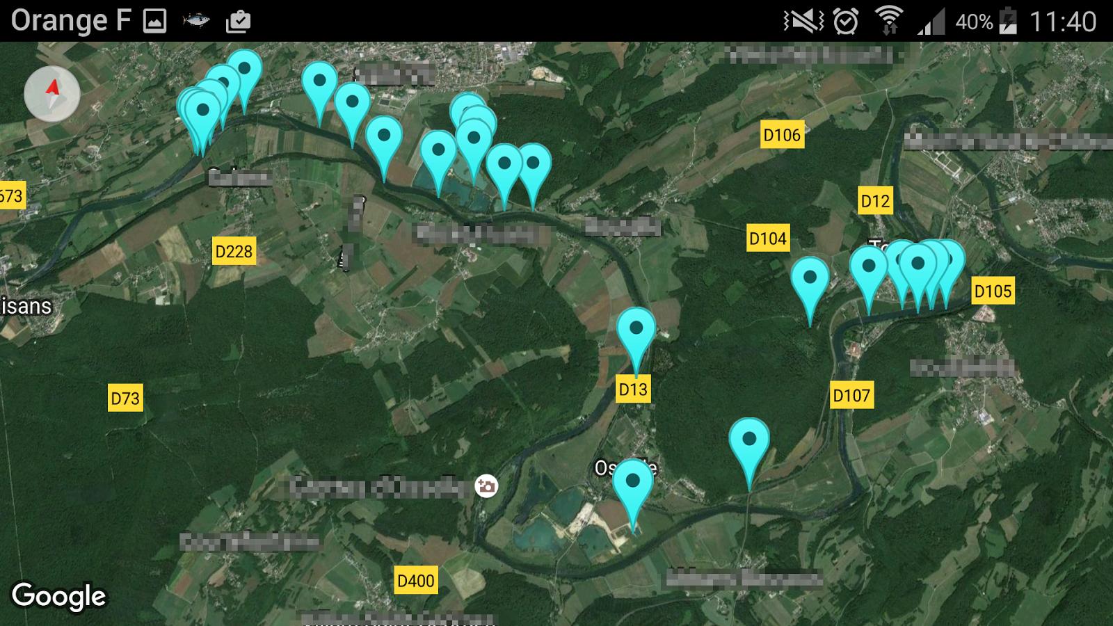 pêche poisson compteur google map