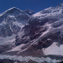 Photo: Everest peaking out on the walk to Gorak Shep