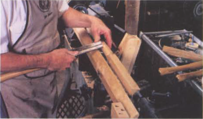 2. Tum the spindle round in the area of the steady rest. Don't rough more than just this area because you need the extra strength provided by the square section to keep harmonic chatter to a minimum while you tum a bearing surface.