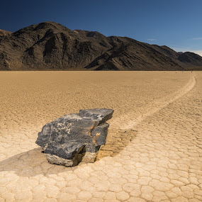Sailing Stone, Racetrack Playa, Death Valley by Adam Collins - Landscapes Deserts ( death valley, desert, outdoor photography, sailing stones, playa, outdoor flash, rock, racetrack )