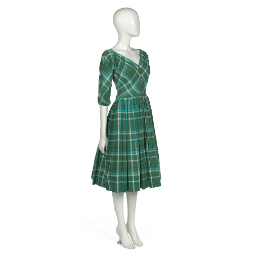 Day dress in green, turquoise, white and black plaid cotton plain-weave