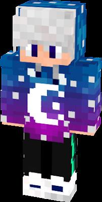 Skin galaxy avec capuche et yeux bleu