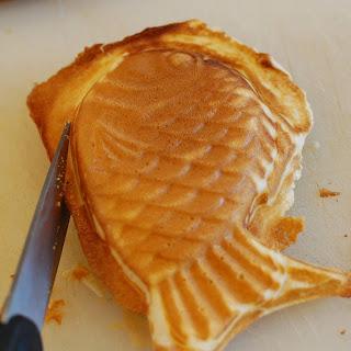 Taiyaki (Japanese fish-shaped pancake with sweet red bean or custard filling).