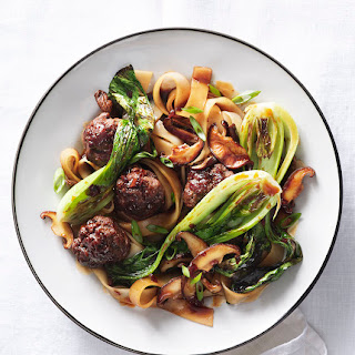 Rice Noodles With Meatballs, Mushrooms, and Bok Choy.