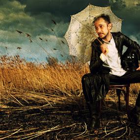 by Soran Sorin - People Fine Art ( umbrella, dark, posing, man )