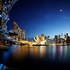 After sunset at Marina bay by Barry Allan - City,  Street & Park  Vistas ( helix bridge, marina bay, singapore )