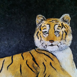 Tiger Tale by Rhonda Lee - Painting All Painting ( wild, unique, zoo, tiger, beautiful, art, nocturnal, contest, striped, night, painting, animal,  )
