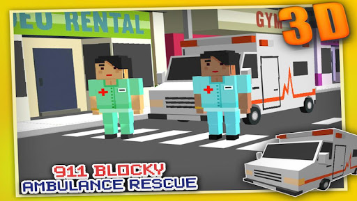 Blocky 911 Ambulance Rescue 3D