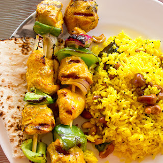 Chicken Kebabs and Lemon Rice.