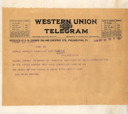 Telegram from Guglielmo Marconi to George A. Hoadley, Conveying deep appreciation for the honor of being the Franklin Medal awardee