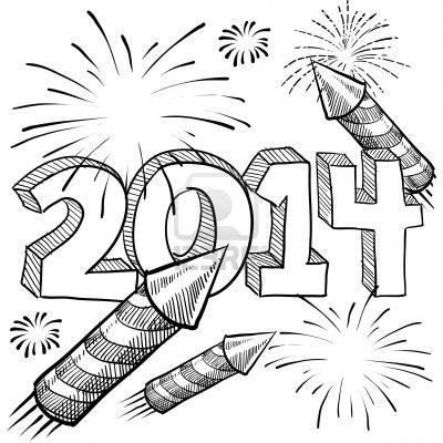 Año Nuevo 2014 para colorear