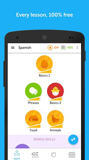 Screenshot 1 for Duolingo's Android app'