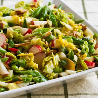 Crunchy Napa Cabbage Asian Slaw with Sugar Snap Peas, Radishes, Almonds and Cilantro
