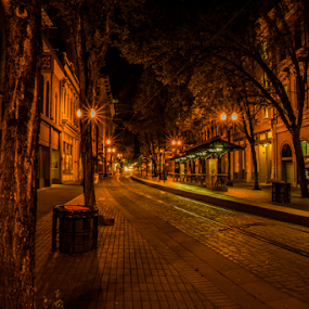 alone wait on the night train by James Case - City,  Street & Park  Night ( portland, train, night, travel, city, city at night, street at night, park at night, nightlife, night life, nighttime in the city )