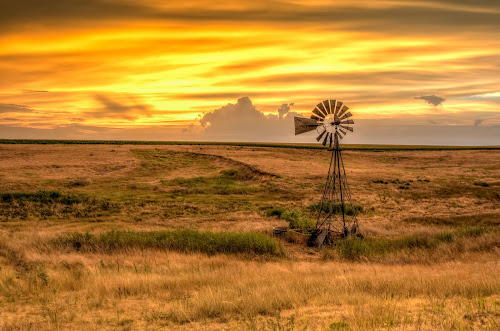 Gove Sunset by Jim Talbert - Landscapes Sunsets & Sunrises ( clouds, pasture, sky, hdr, nature, sunset, gove co, landscape, landscapes, kansas, windmill,  )