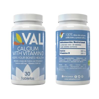 Calcio + Vitamina D Val600mg + 200 UI x 30 Tabletas Val