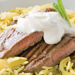 Lamb with Spiced Mint Pilaf.