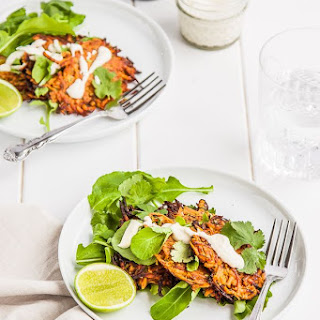 Sweet Potato Fritters with Cashew Lime Cream {dairy free + gluten free}