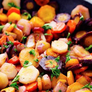 Sautéed Brown Butter Garlic Rainbow Carrots.