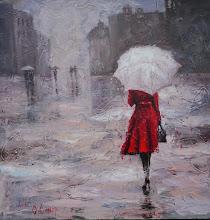 Photo: Ольга Самар, Lady in red 1, 80х80, масло, холст, мастихин