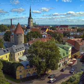 A Medieval City by Garry Dosa - City,  Street & Park  Historic Districts ( estonia, city, spire, old, buildings, church, cityscape )
