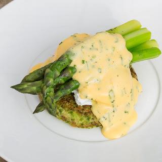 Organic Pea Pancake, Asparagus And Poached Eggs With A Herb Sabayon.