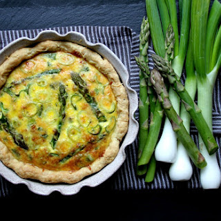 Asparagus, Spring Onion and Speck Quiche.