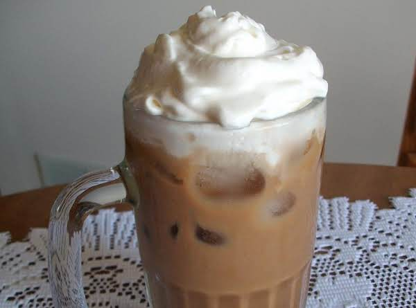 Iced Coffee Topped With Cool Whip.