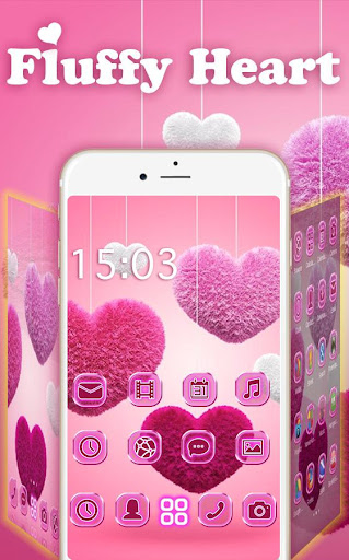 Fluffy diamond Hearts Theme: Pink Comics Launcher 3.9.10 screenshots 2