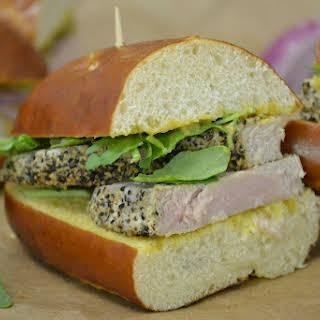 Honey Mustard Tuna Pretzel Sandwich.